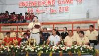 ผศ.ดร.สมหมาย ผิวสอาด คณบดีคณะวิศวกรรมศาสตร์ มหาวิทยาลัยเทคโนโลยีราชมงคล(มทร.)ธัญบุรี เป็นประธานในพิธีเปิดกีฬา Engineering Game ครั้งที่ 19 ณ โรงยิมเนเซียม มทร.ธัญบุรี
